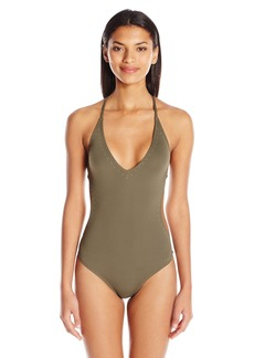 Vince Camuto Women's Pacific Coast Studded Plunge Double Cross Back One Piece Swimsuit