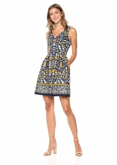VINCE CAMUTO Women's Patterned Fit and Flare Dress