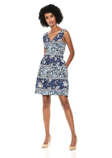 VINCE CAMUTO Women's Patterned Scuba Sleeveless Fit and Flare