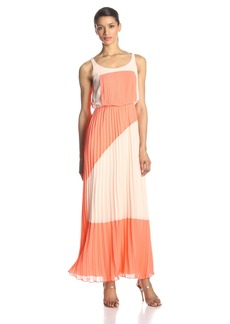 VINCE CAMUTO Women's Pleated Color-Block Maxi Dress