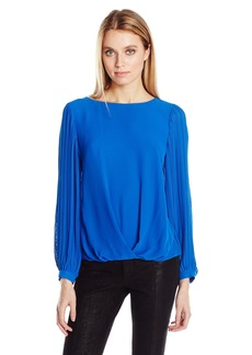 Vince Camuto Women's Pleated Sleeve Fold Over Blouse  XS