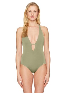Vince Camuto Women's Plunging V-Neck One-Piece Swimsuit with Removable Soft Cups