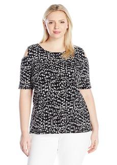 Vince Camuto Women's Plus Size 3/4 Sleeve Mosaic Glimpses Cold-Shoulder Top