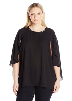 Vince Camuto Women's Plus Size Cape Blouse with Embellished Neck