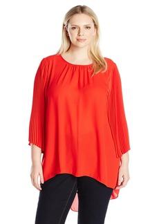 Vince Camuto Women's Plus Size Chiffon Pleated Sleeve Blouse