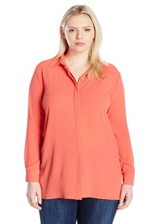 Vince Camuto Women's Plus Size Long Sleeve Button up Collared Tunic