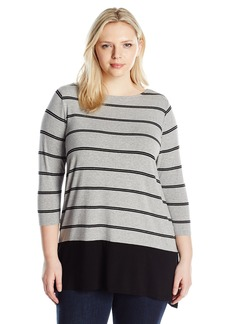Vince Camuto Women's Plus Size Long Sleeve Chiffon Hem Stripe Duet Top