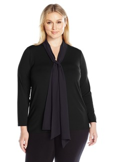 Vince Camuto Women's Plus Size Long Sleeve High Low Hem V-Neck Top with Woven Scarf