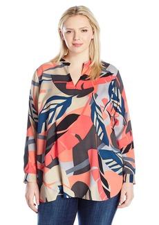 Vince Camuto Women's Plus Size Long Sleeve Modern Tropics V-Necktunic