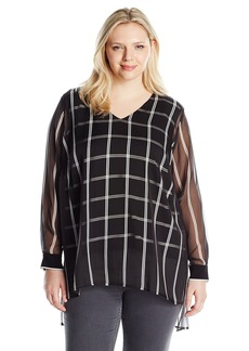 Vince Camuto Women's Plus Size Long Sleeve V-Neck Stripe Duet Blouse with Knit Under