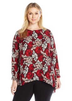 Vince Camuto Women's Plus Size Long Sleeve Woodland Floral High Low Blouse  1X