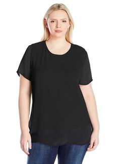 Vince Camuto Women's Plus Size Short Sleeve Crewneck Chiffon Overlay Blouse