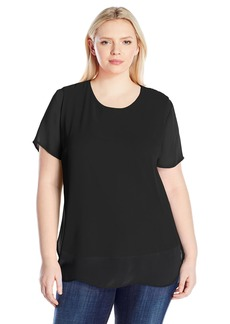 Vince Camuto Women's Plus Size Short Sleeve Crewneck Chiffon Overlay Blouse