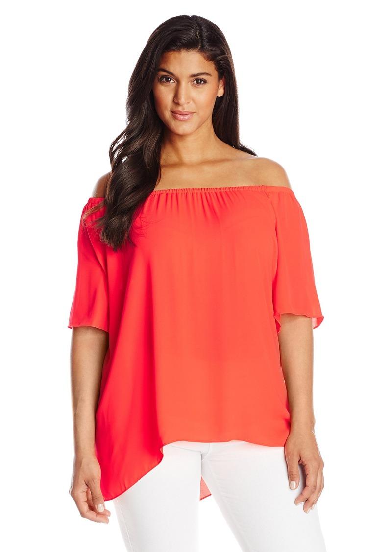 ac6559279bc21 Vince Camuto Women s Plus-Size Short Sleeve Off The Shoulder High Low Hem  Blouse