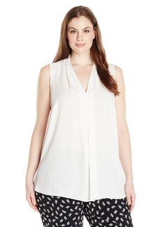 Vince Camuto Women's Plus Size Short Sleeve V Blouse with Inverted Front Pleat  3X