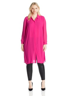 Vince Camuto Women's Plus Size Sleeve Button Front Long Tunic with Side Slits
