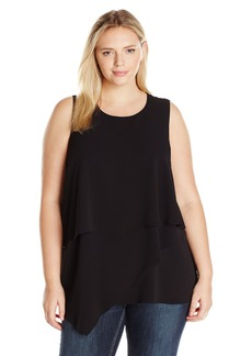 Vince Camuto Women's Plus Size Sleeveless Asymmetrical Layered Blouse