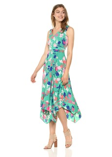VINCE CAMUTO Women's Printed Asymmetrical Midi Dress