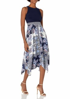 Vince Camuto Women's Printed CDC and ITY Twofer MIDI Dress with Handkerchief Hem