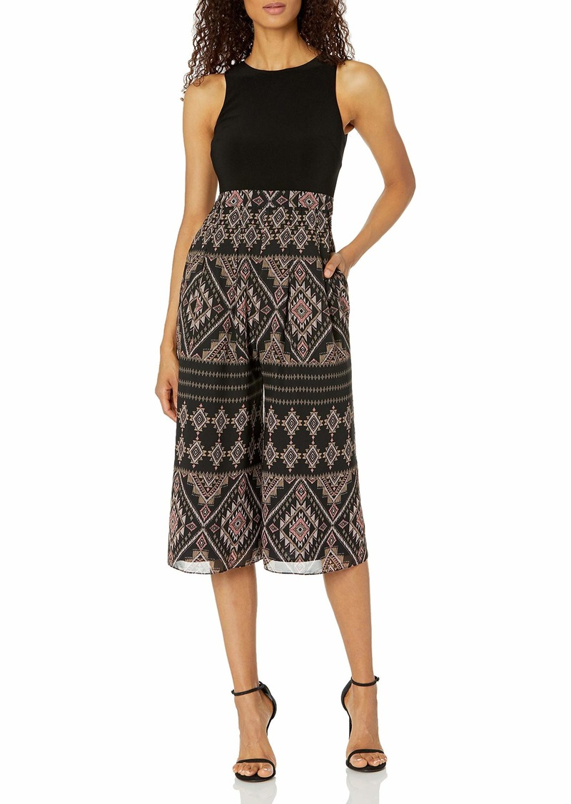 Vince Camuto Women's Printed Chiffon and ITY Twofer Crop Jumpsuit