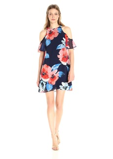Vince Camuto Women's Printed Chiffon Cold Shoulder Dress