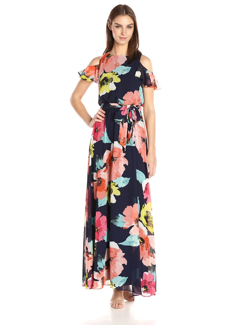 VINCE CAMUTO Women's Printed Chiffon Maxi Dress