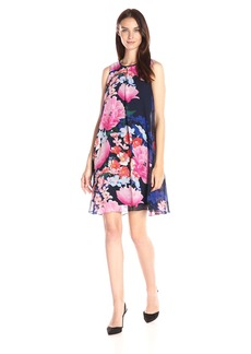 Vince Camuto Women's Printed Chiffon Overlay Dress