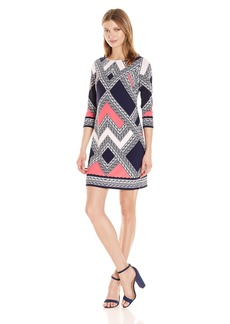 VINCE CAMUTO Women's Printed Crepe T Body Dress