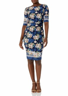 Vince Camuto Women's Printed ITY Elbow Sleeve Ruched Bodycon Dress