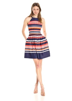 Vince Camuto Women's Printed Ponte Halter Fit and Flare Dress