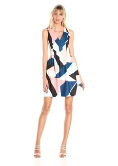 Vince Camuto Women's Printed Scuba Fit and Flare Dress