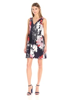 Vince Camuto Women's Printed Scuba Fit Flare Dress