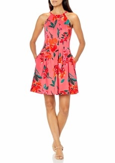 Vince Camuto Women's Printed Scuba Halter Fit and Flare