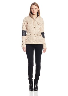 Vince Camuto Women's Quilted Barn Jacket with Faux Leather Detail On Sleeves