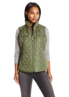 VINCE CAMUTO Women's Quilted Vest with Suede Trim Pale Olive