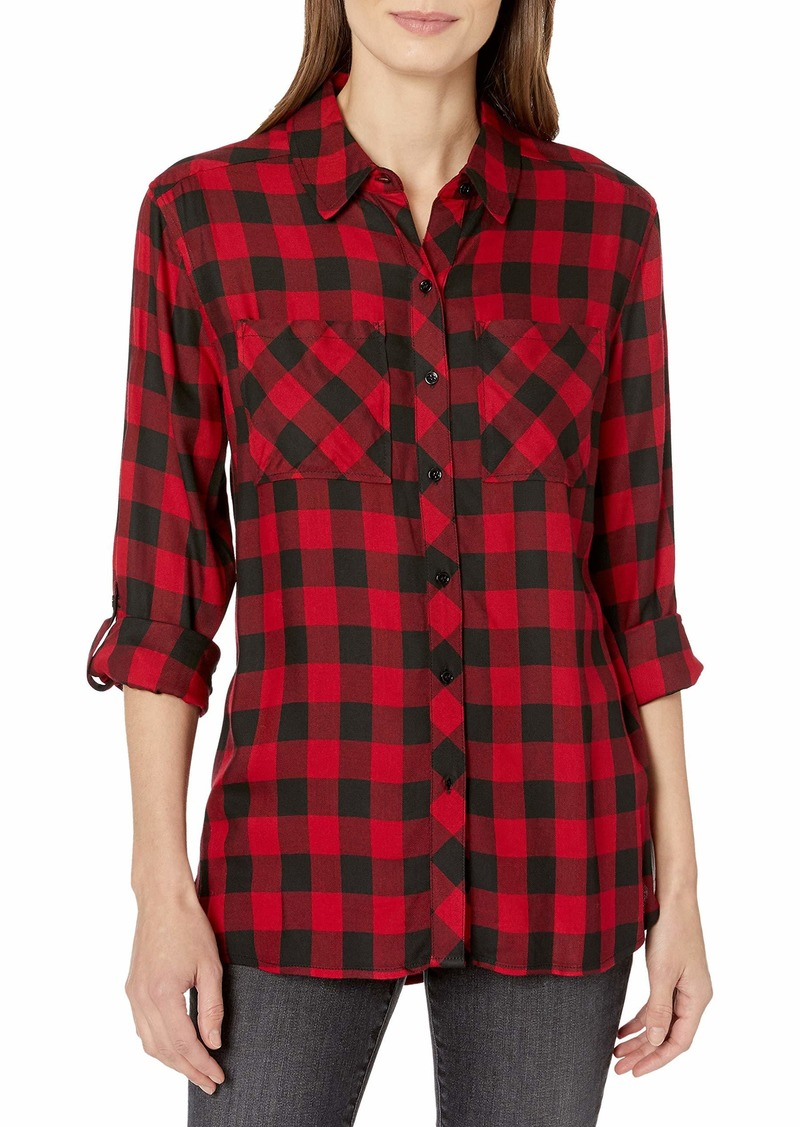 Vince Camuto Women's Roll Tab Buffalo Plaid Two Pocket Top  Extra Small