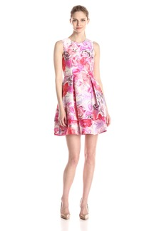Vince Camuto Women's Rose Floral Fit and Flare Dress