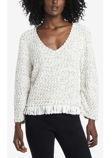 Vince Camuto Women's Ruched Sleeve Boucle Fringe Pullover