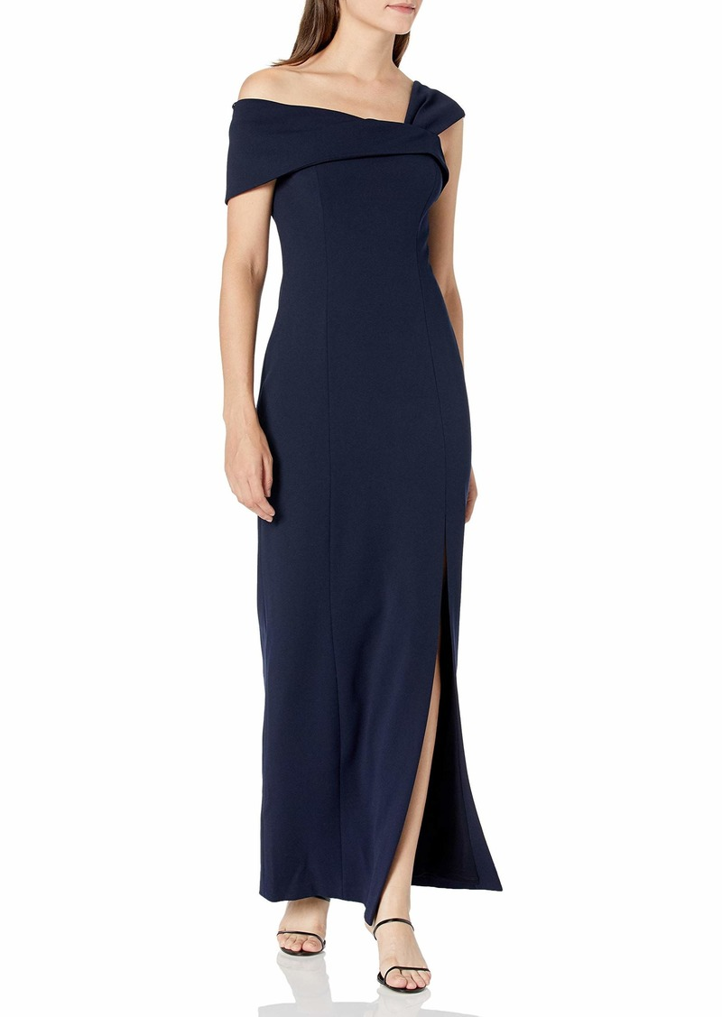 Vince Camuto Women's Scuba Crepe Asymetrical Neck Gown with Slit