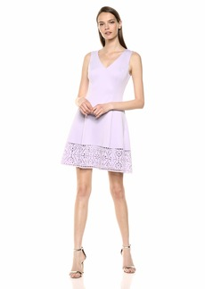 VINCE CAMUTO Women's Scuba Sleeveless Fit and Flare Dress
