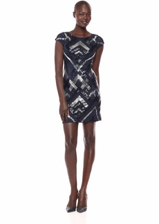 Vince Camuto Women's Sequin Patterned Cap Sleeve Bodycon Dress