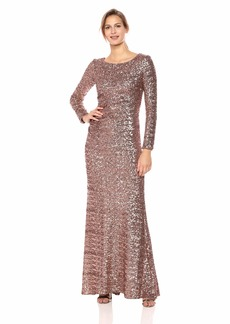 Vince Camuto Women's Sequined Long Sleeve Gown BRZ