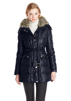 Vince Camuto Women's Short Down Coat with Belt and Faux Fur Lined Hood