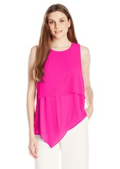 Vince Camuto Women's Short Sleeve Asymmetrical Layered Blouse