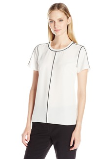 Vince Camuto Women's Short Sleeve Back Zip Blouse with Contrast Piping