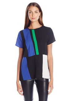 Vince Camuto Women's Short Sleeve Blouse with Colorblock Panels
