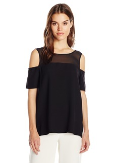 Vince Camuto Women's Short Sleeve Cold-Shoulder Blouse with Chiffon Yoke  XL