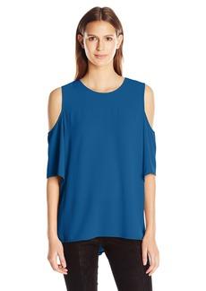 Vince Camuto Women's Short Sleeve Cold-Shoulder High Low Hem Blouse  M
