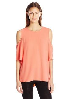Vince Camuto Women's Short Sleeve Cold-Shoulder High Low Hem Blouse  XL