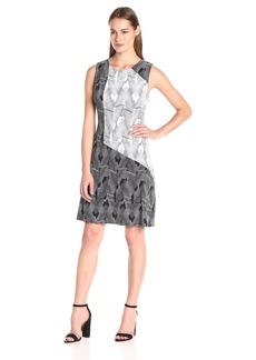 Vince Camuto Women's Short Sleeve Colorblock Graphic Strip Fan Dress